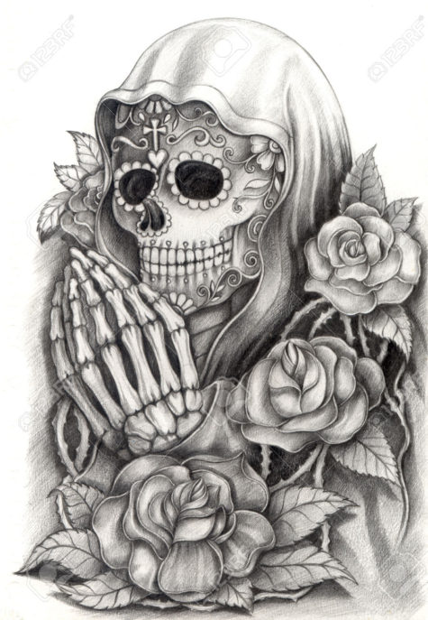 32085963-art-skull-day-of-the-dead-hand-drawing-on-paper-stock-photo-tattoo-skull-cross
