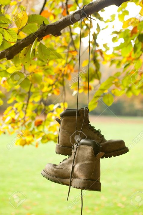 10283742-Old-worn-boots-hanging-on-a-tree-in-an-autumn-forest-Stock-Photo