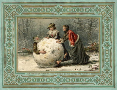 circa 1879:  Two women in Stuart costume roll Father Christmas through the woods in a giant snowball, on this unusual Christmas card.  (Photo by Hulton Archive/Getty Images)