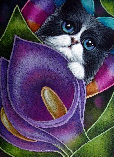 tuxedo-fairy-cat-behind-the-purple-violet-lily-flowers