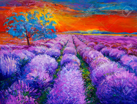 Original oil painting of lavender fields on canvas.Sunset landscape.Modern Impressionism