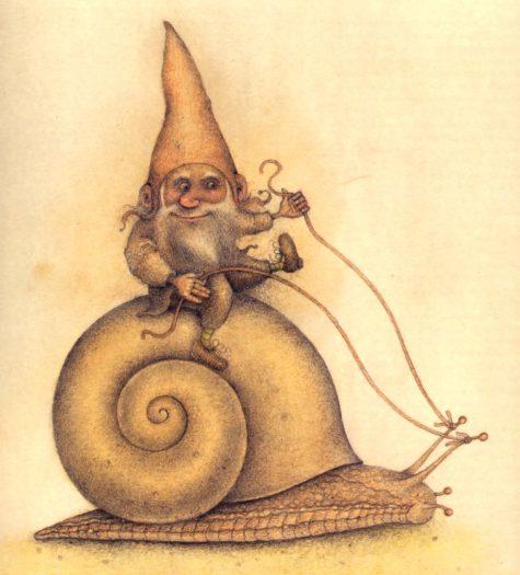 gnome-riding-snail-tattoo-design