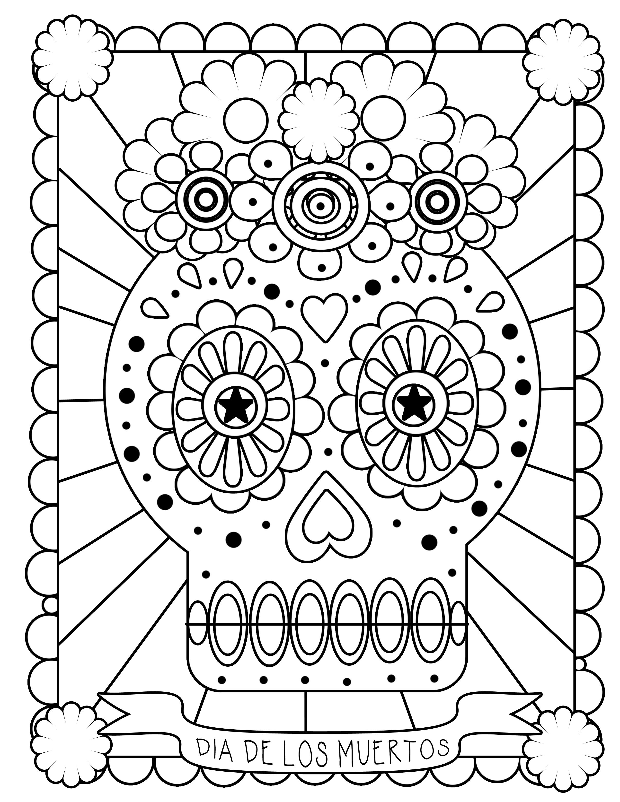 - Day-of-the-dead-coloring-pages-skulls Coloring Pages