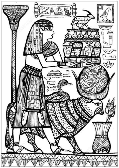 Egyptian Art To Color   Coloring Pages