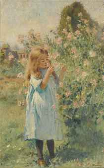 konstantin_makovsky_a_little_girl_smelling_mallow_and_yarrow_d5509968h