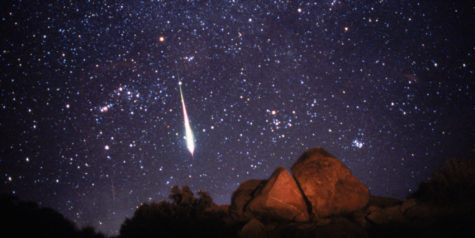 Fireball in Leonid meteor shower. Image taken from Anza-Borrego desert, CA. Nov 17, 1998. Meteors, or shooting stars, are particles of dust that enter the Earth's atmosphere at speeds of 35-95 kilometers per second. The Leonid meteor shower occurs every y